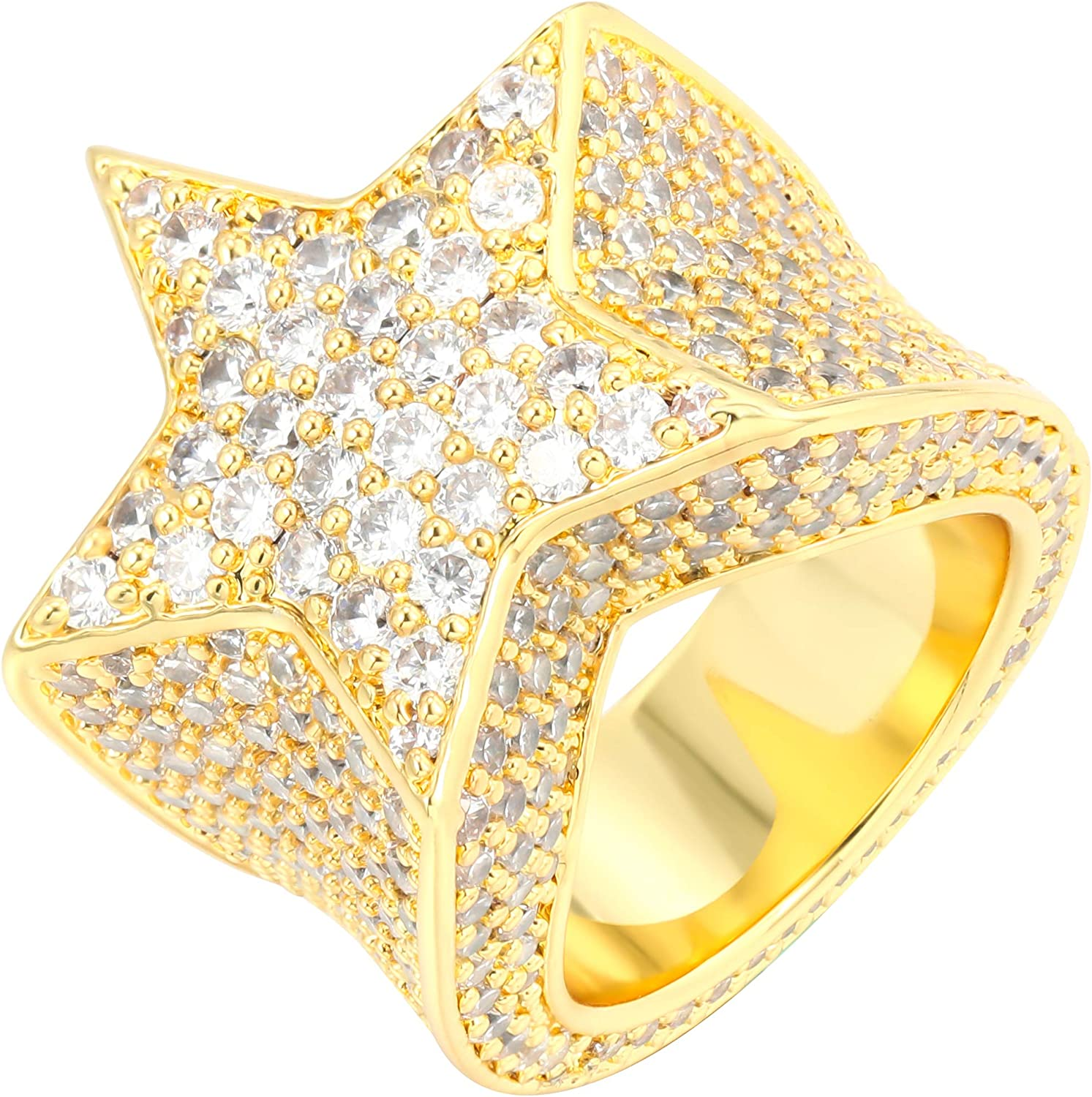 Iced Out Star Pinky Ring-18K Gold,Rose Gold or White Gold Plated Bling Bling Jewelry-Hip Hop 5A+ Star Ring for Men Women