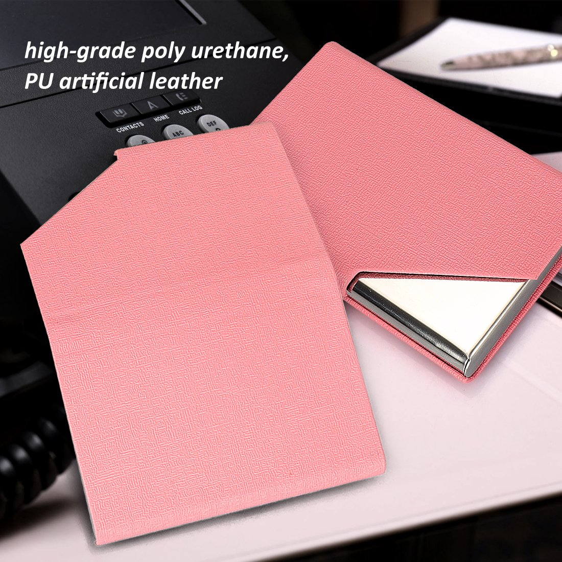 New Pink YOBANSA Professional Business Card Holder Business Name Card Holder Luxury PU Leather /& Stainless Steel Multi Card Case