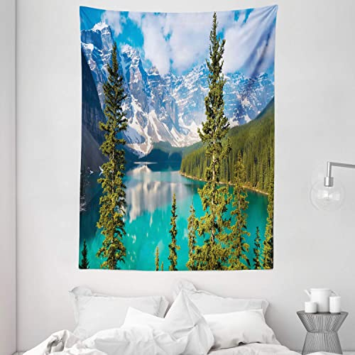 Ambesonne Landscape Tapestry, Moraine Lake Rocky Mountains Canada Summer Forest Tall Fresh Trees Image, Wall Hanging for Bedroom Living Room Dorm, 60 X 80 , Aqua Blue Green