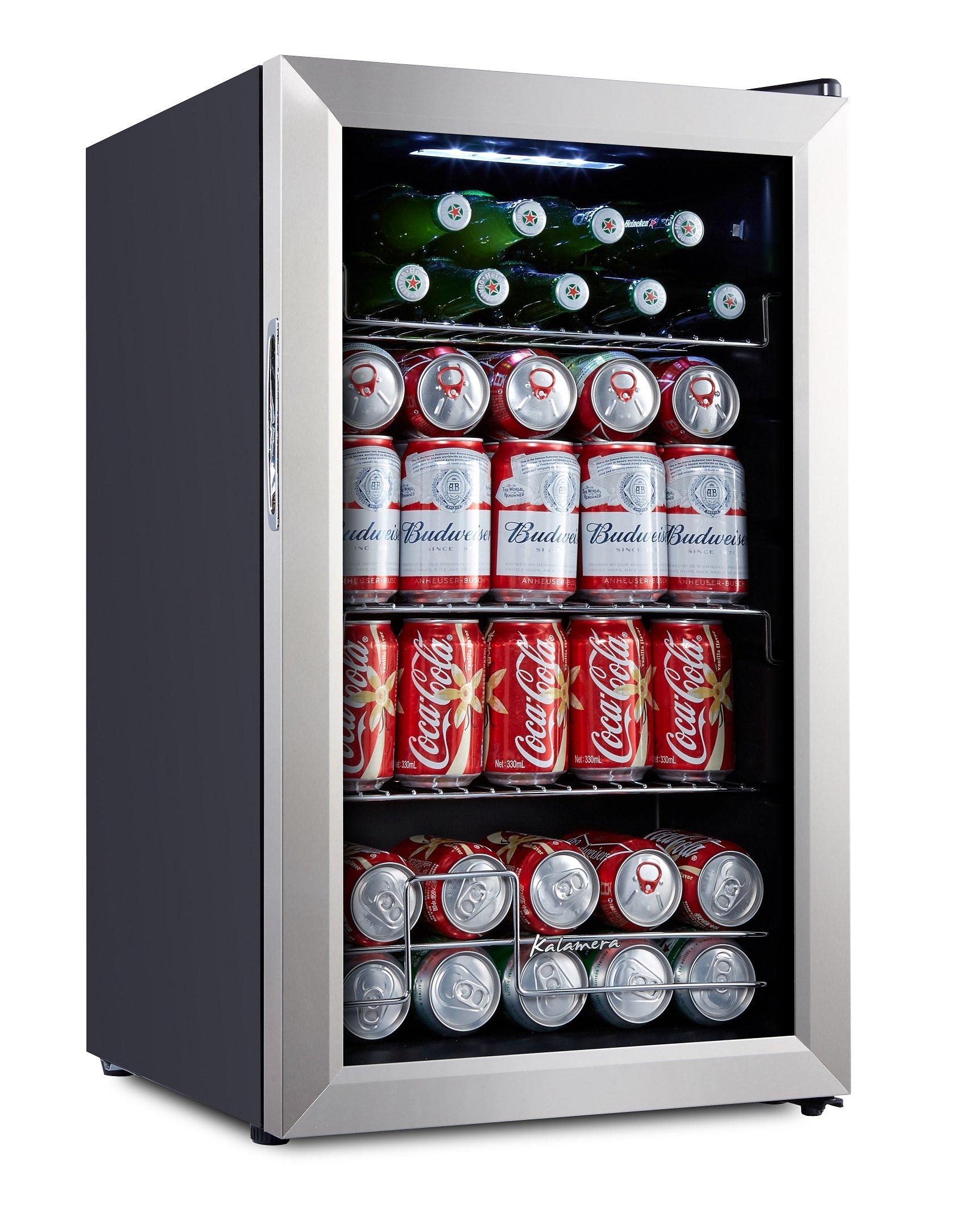 Kalamera Cooler KRC-70BV 93 Can Compressor Beverage Refrigerator, Black