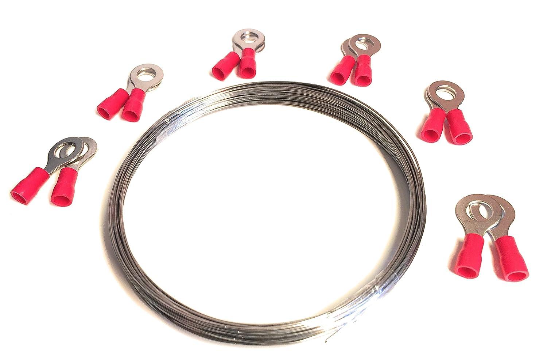 Juego de alambre de corte de poliestireno expandido, cable calefactor WDVS, 10 metros de longitud y 0,7 mm ide grosor, incluye 12 ojales 10metros de longitud y 0 7mm ide grosor incluye 12ojales Tech-Parts 1404