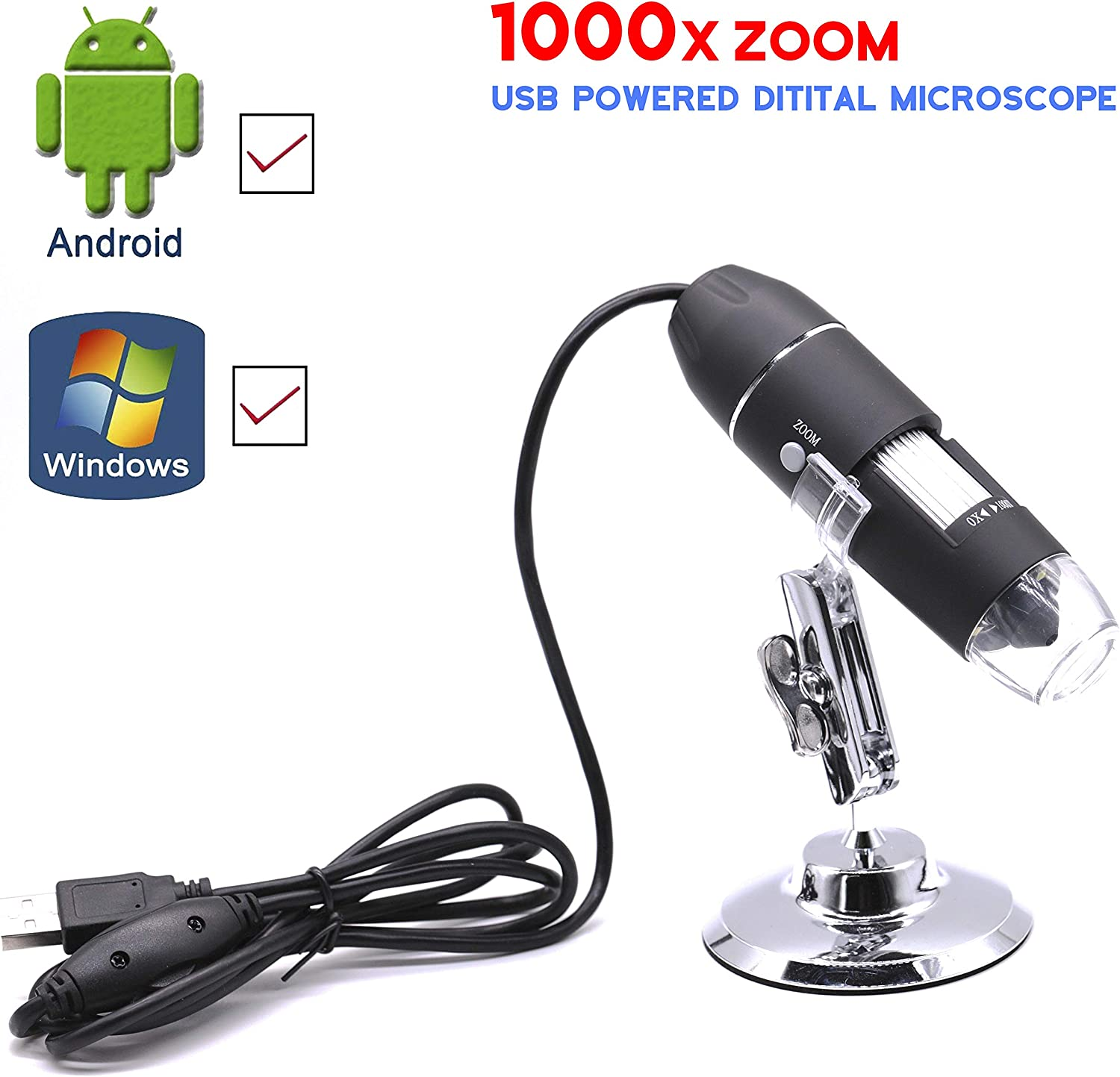 Digital Wireless 1000X Magnifier Microscope Magnification Endoscope for Kids Students Adults