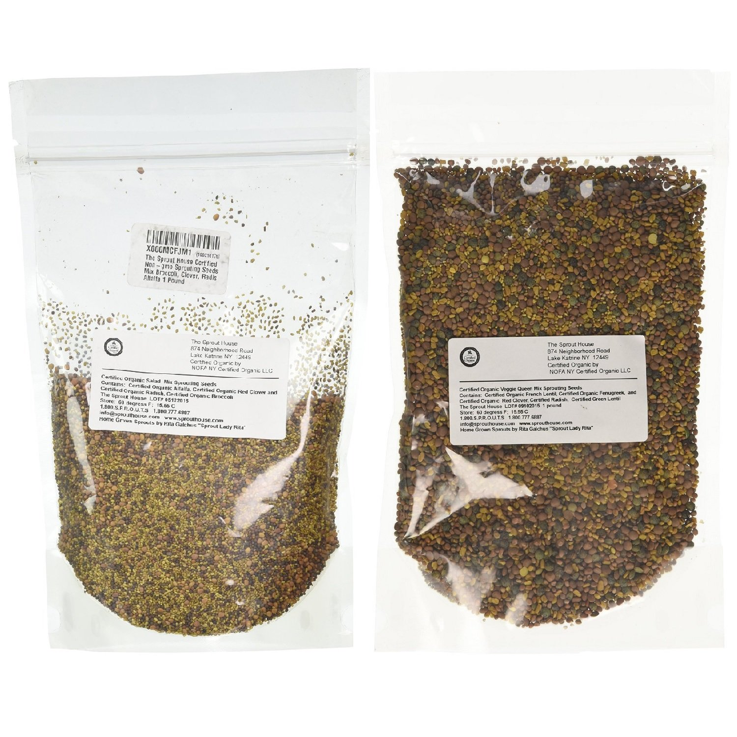 The Sprout House - Certified Organic Sprouting Seeds Salad Mix Kit - Veggie Queen and Salad Sprout Mix Flavors by The Sprout House