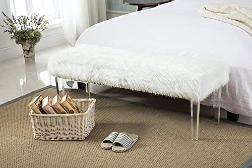 Upholstered Bed Bench White Faux Fur Bench Nailhead Ottomans Footstools Vanity Benches for Bedroom, Entryway and End of Bed, Acrylic Legs