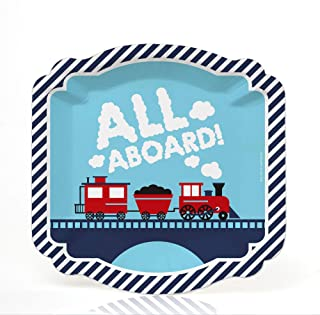 product image for Big Dot of Happiness Railroad Party Crossing - Steam Train Birthday Party or Baby Shower Dessert Plates (16 Count)