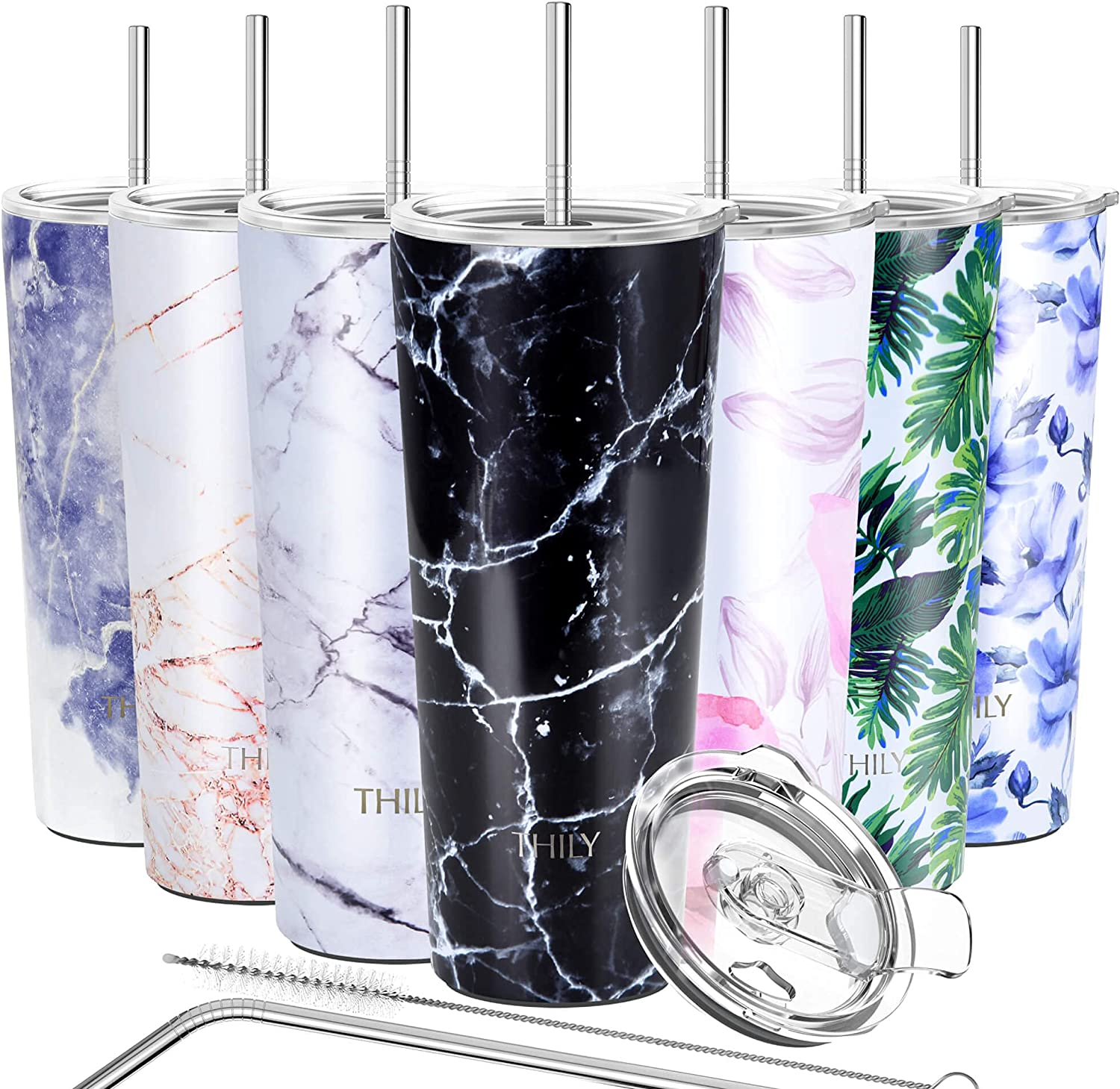 Stainless Steel Vacuum Insulated Tumbler - THILY Travel Mug 26 oz Coffee Cup with 2 Lids and Straws, Splash Proof, Keep Ice Drinks Cold, Black Marble
