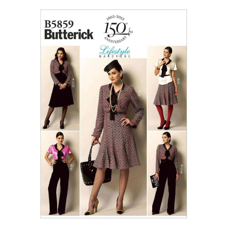 Butterick Schnittmuster 5859 A5 Damen Kombination,Jacke,Hose,Rock ...