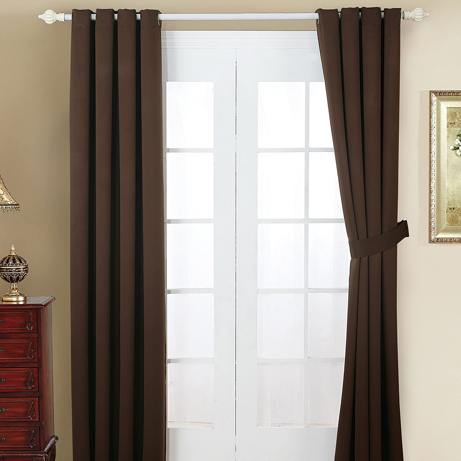 Home Soft Things Serenta 4 Piece Grommet Darkening Thermal Insulated Blackout Window Panel Curtain Set, 2 Curtains and 2 Back Ties, 54