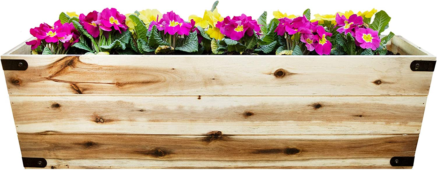 Wooden 31 Inch Long Box Planter, Outdoor Patios, Decks, Gardens - Large 31 x 10 x 9 Inch