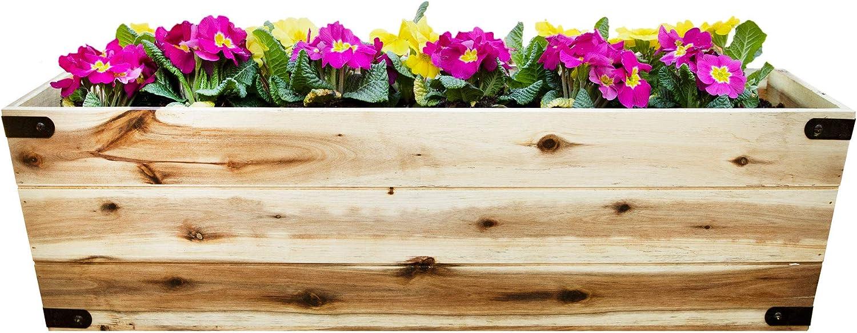 Wooden 31 Inch Long Box Planter, Outdoor Patios, Decks, Gardens - Large 31 x 10 x 9 Inch
