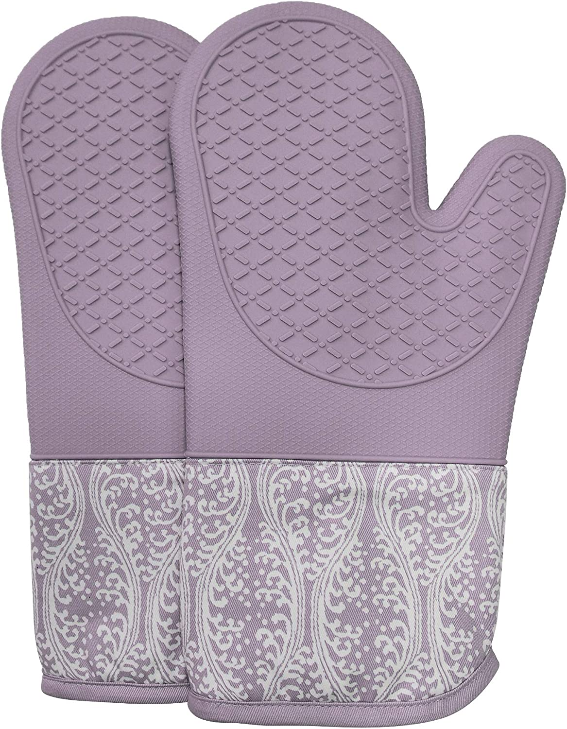 RED LMLDETA Professional Microwave Silicone Oven Mitts for one Pair, Kitchen Lines Set for Heat Resistant with 500 Degrees, Kitchen Gloves Pot Holder for BBQ Cooking Baking (Purple)