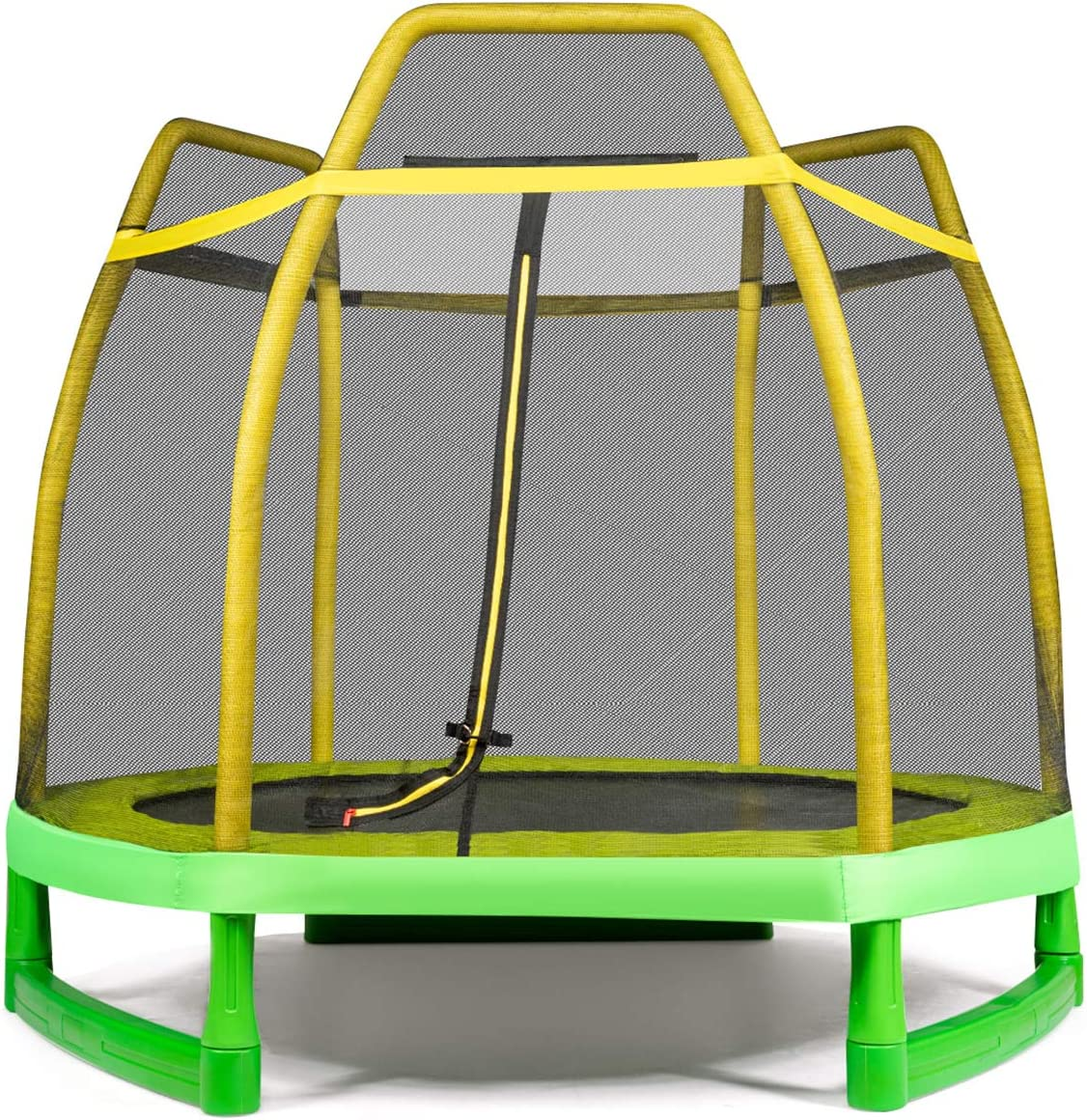 Jumping Trampoline with Safety Enclosure Net /& Spring Pad for Outdoor//Indoor Built-in Zipper Heavy Duty Trampoline for Kids Family GYMAX 7ft Kids Trampoline