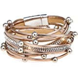 Suyi Women Wrap Bracelet Multilayered Leather Braided Bangle Wrist Cuff Bangles with Magnetic Buckle