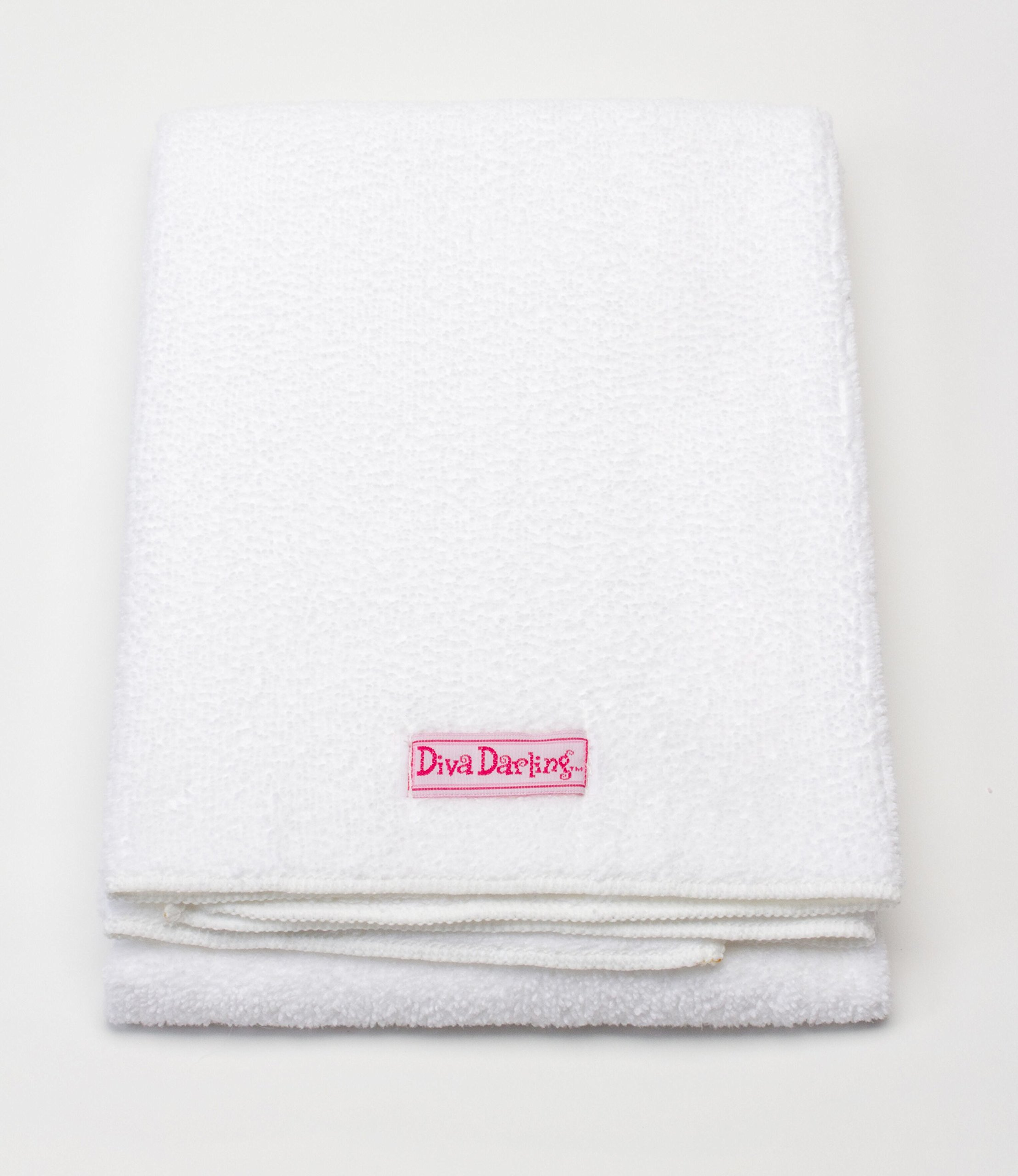 Diva Darling, Easy To Use & Super Absorbent Microfiber Hair Towel, White (19 x 39-Inches)