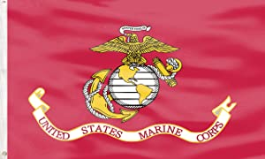 Marine Corps USMC US Military - US Marine Army Flags Vivid Color and UV Fade Resistant - Double Sided with Brass Grommets,Outdoor Sign House Banner Wall Art Polyester Yard Lawn Outdoor Decor 3x5 Ft