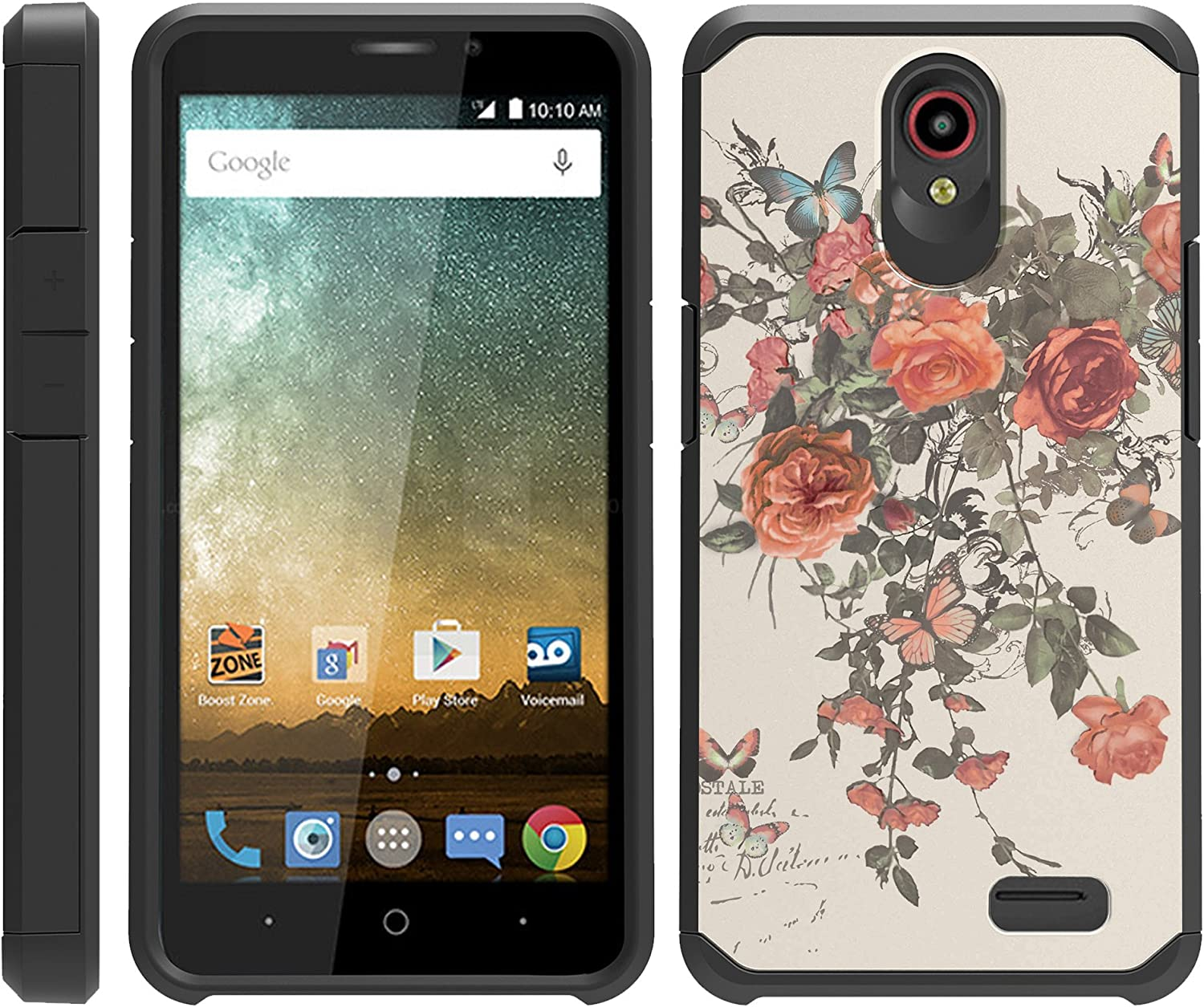 TurtleArmor | Compatible with ZTE Prestige 2 Case | ZTE Maven 3 Case | ZTE Overture 3 Case | Slim Fitted Cover Armor Hard Dual Layer Hybrid Case Girls - Elegant Roses