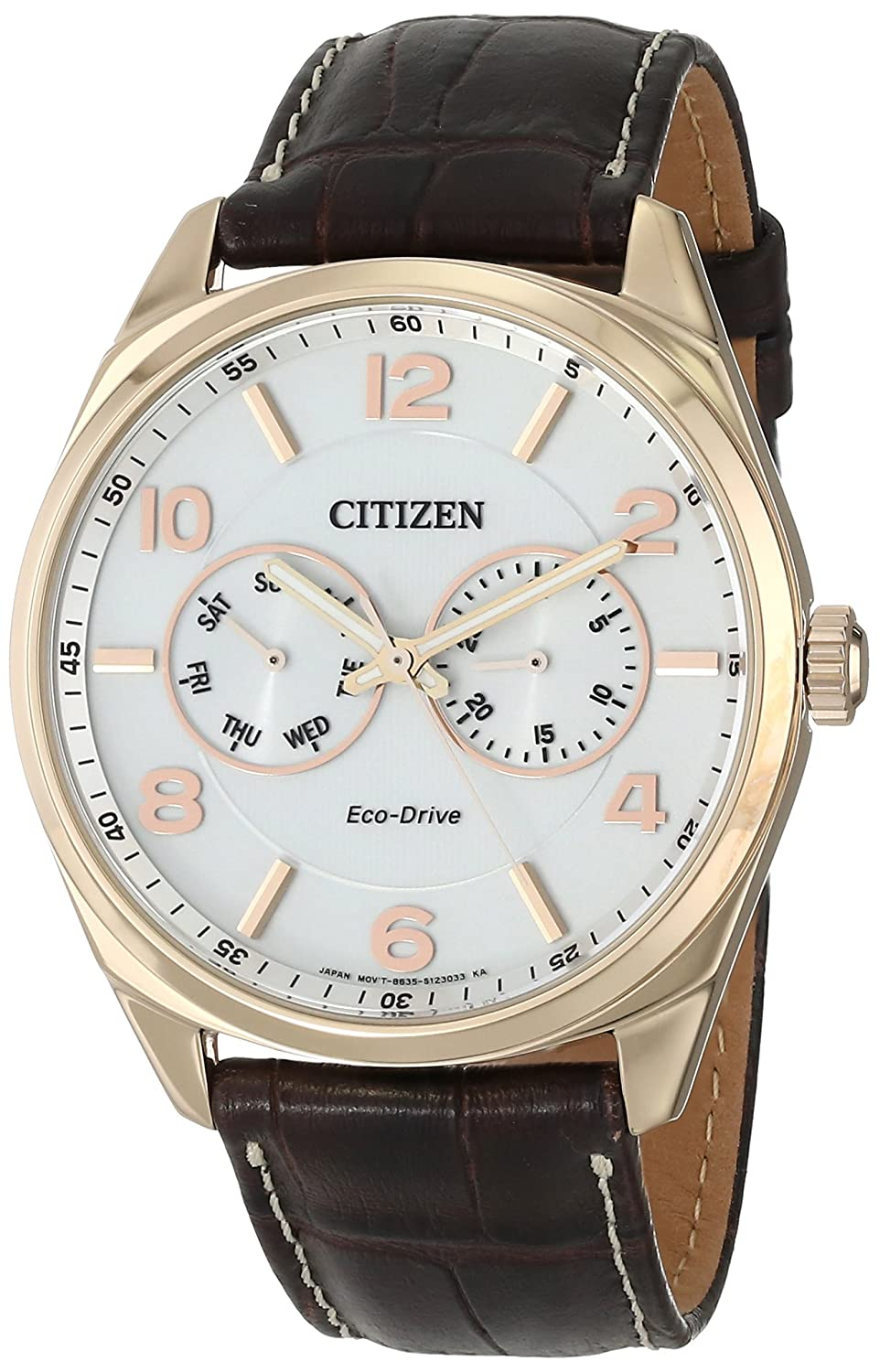 2b1ff6306 Amazon.com: Citizen Men's Eco-Drive Stainless Steel and Leather Watch,  AO9023-01A: Watches
