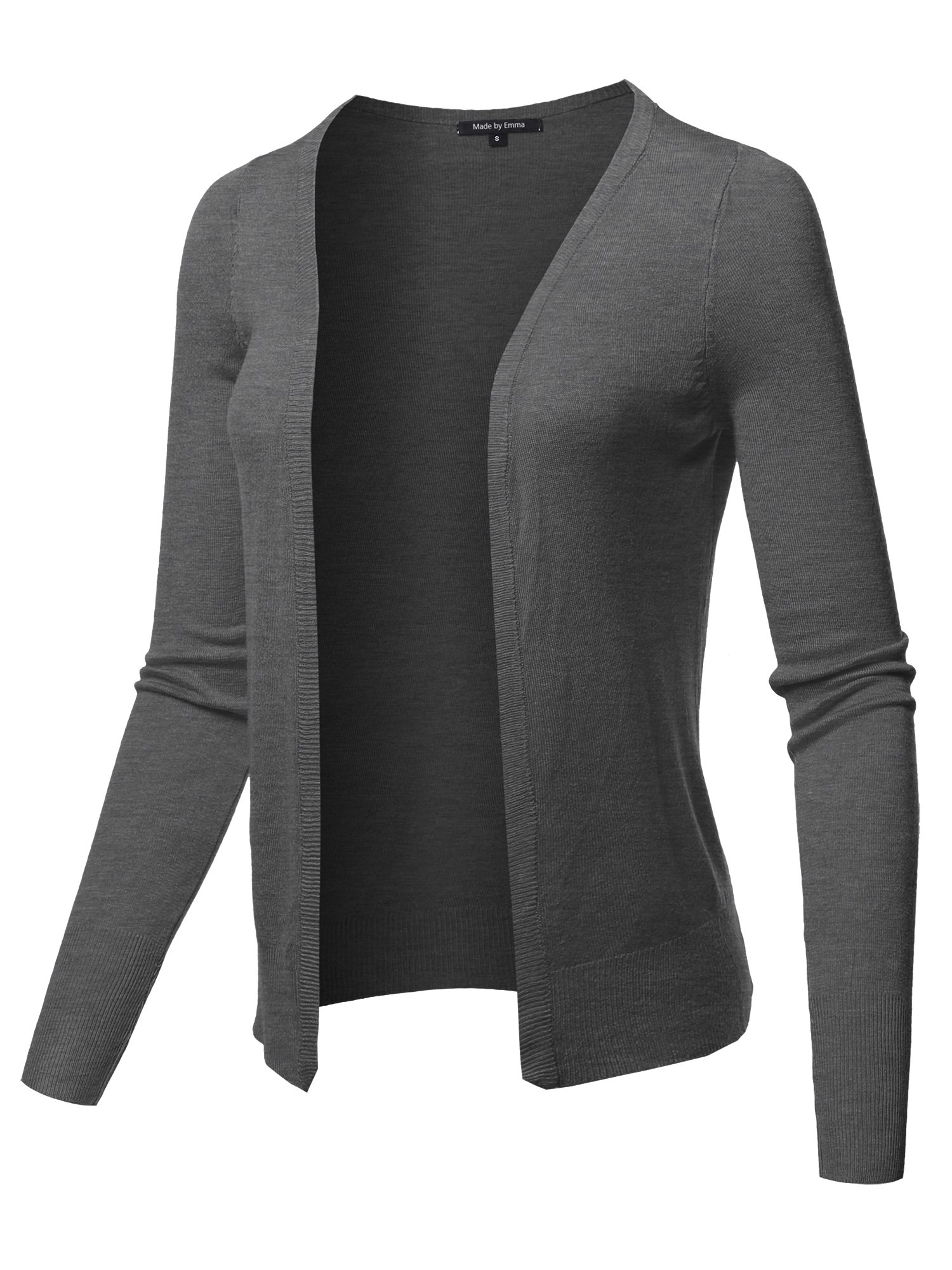 Made by Emma Light Weight Open Front Casual Formal Look Soft Knit Summer Cardigan Charcoal L