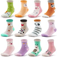 Evercute Baby Toddler Non Slip Crew Socks 9-12pack Anti Skid Infant Socks With Grips For Little Boys and Girl Kids