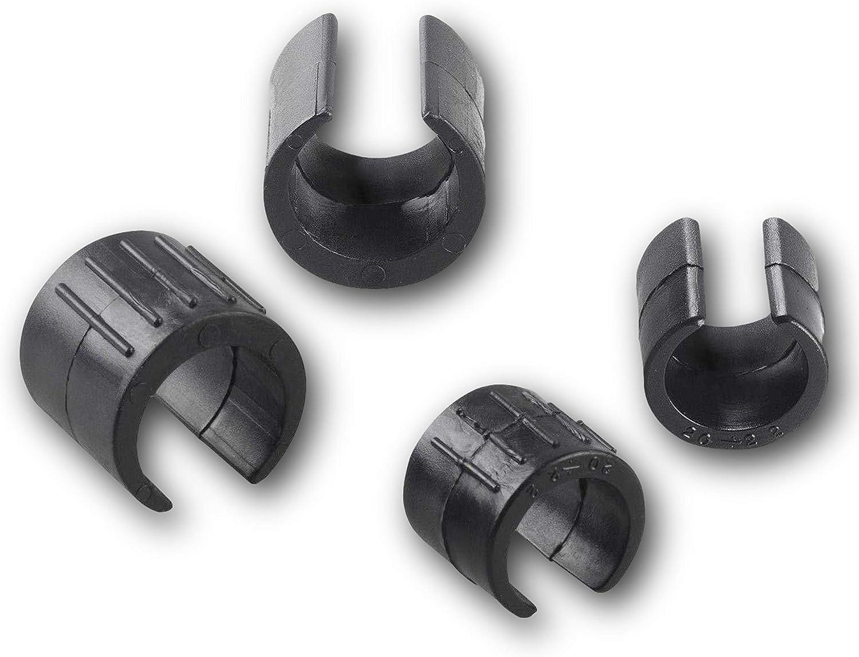 Kunststoff schwarz f/ür runde Rohre 4 Klemmschalengleiter//Stuhlgleiter