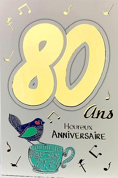 Afie Carte Anniversaire 80 Ans Homme Femme Musique Sonophone Amazon Fr Fournitures De Bureau