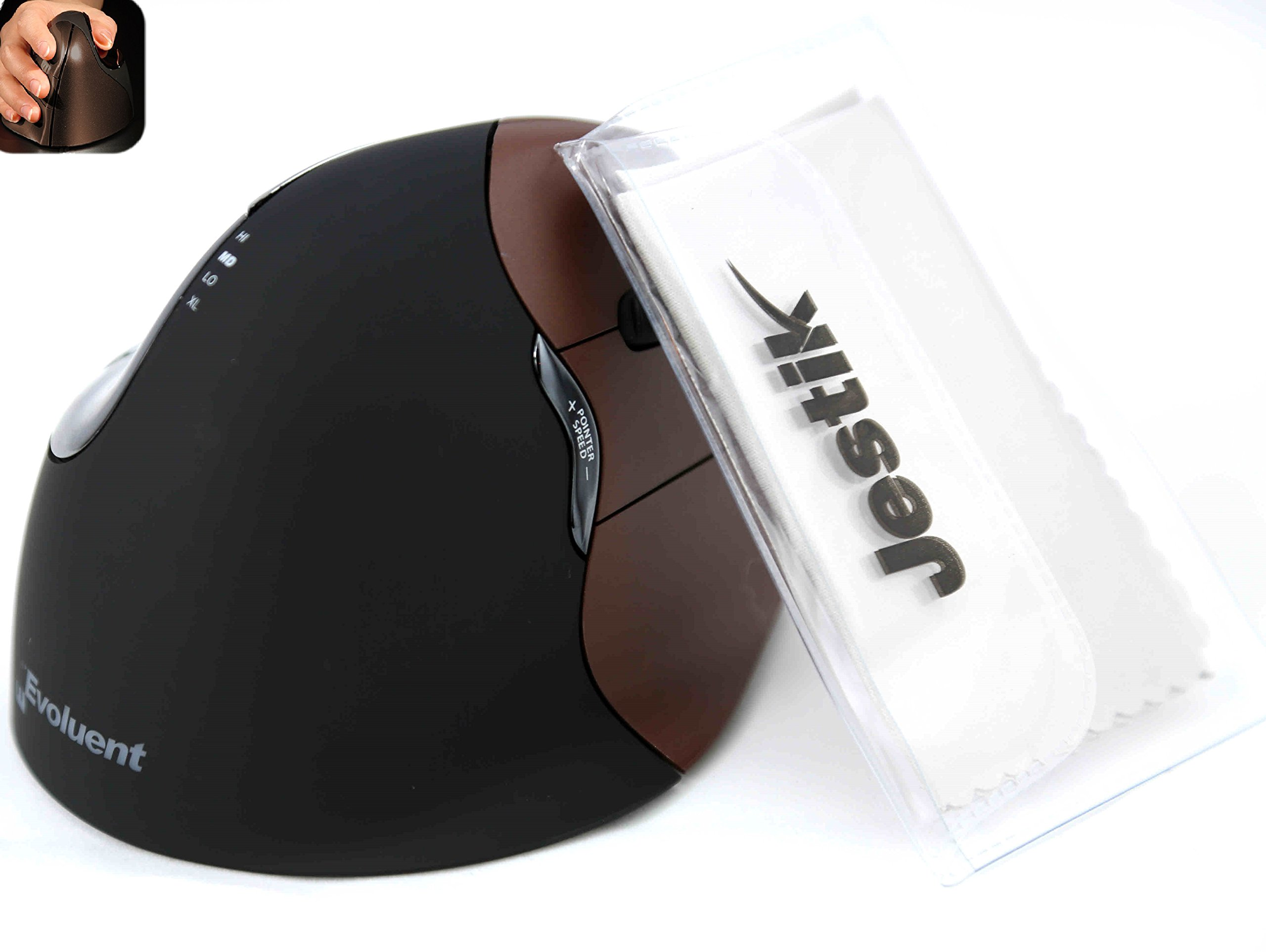 Evoluent - Ergonomical Wireless VerticalMouse & Jestik Microfiber Cloth - Right Handed - Small Size - Brown & Black by Evoluent (Image #1)