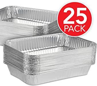 Stock Your Home Aluminum Foil Drip Pans (25 Pack) Grill Compatible Drip Pans - Disposable Grease Catch Trays - Grill Drip Pan Liners to Catch Grease - BBQ Drip Pan - Disposable Roasting Pan - 8.25 x 6