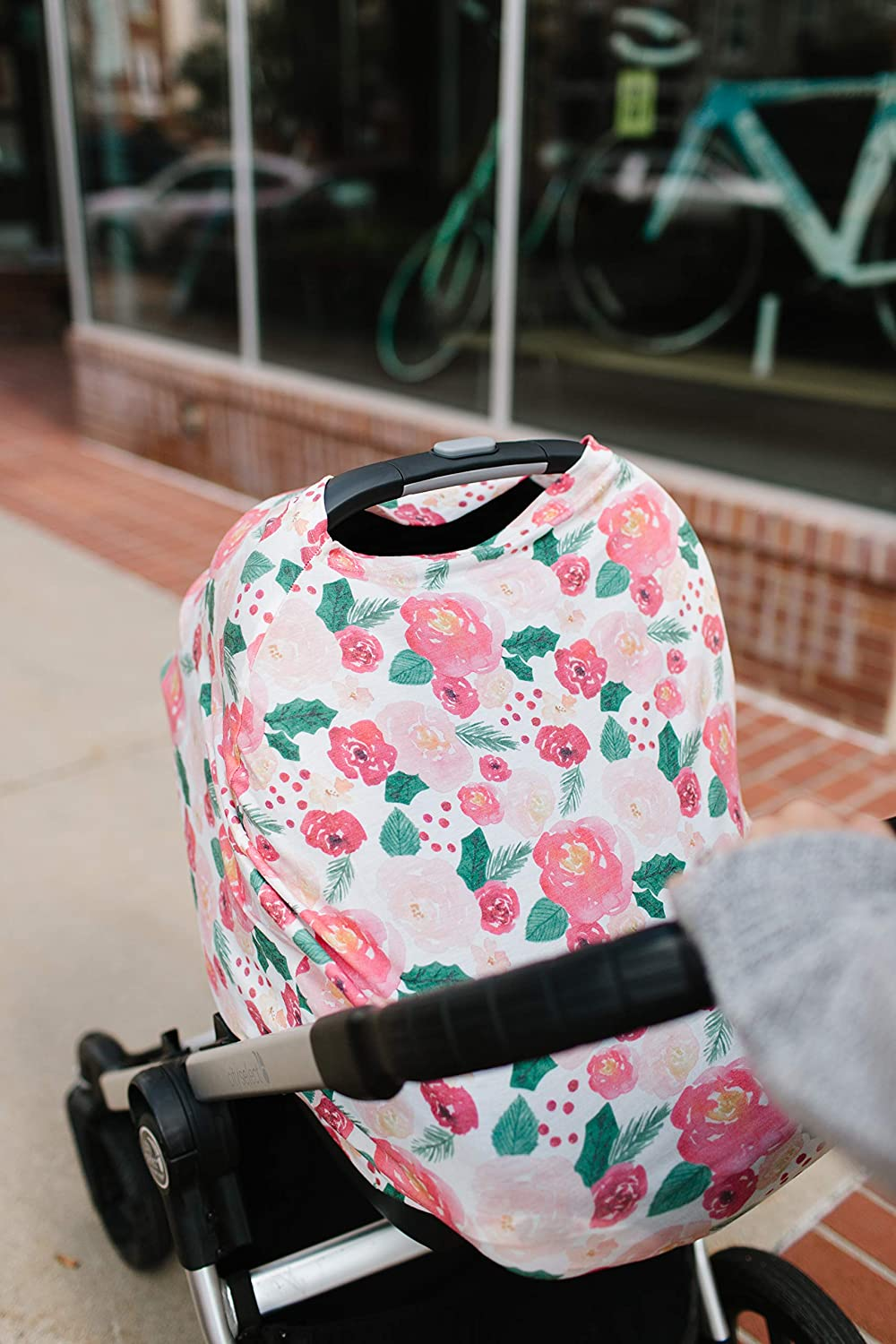 Baby Car Seat Cover Canopy and Nursing Cover Multi-Use Stretchy 5 in 1 GiftHolly by Copper Pearl