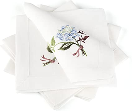 White Linen Embroidered Placemat Handmade Floral Linen Table Decor 100/% Pure Burlap Linen Wedding Decor Mitered Corners