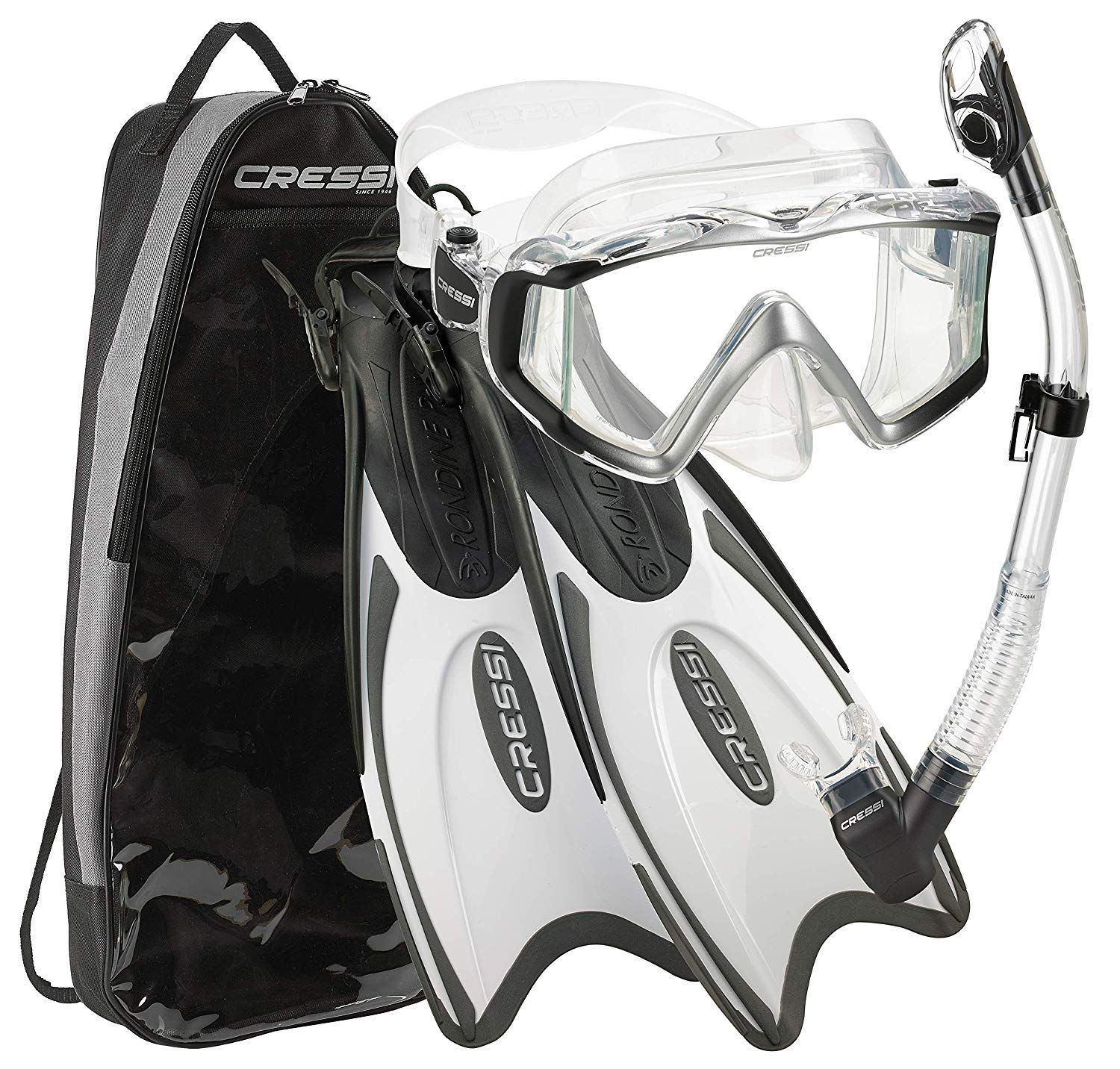 Cressi Italian Design Palau Long Adjustable Snorkeling Fin Flippers with Liberty Panoramic View Mask Dry Snorkel Set (Metallic Black White, S/M | US Man 6.5/8.5 | US Lady 7.5/9.5) by Cressi