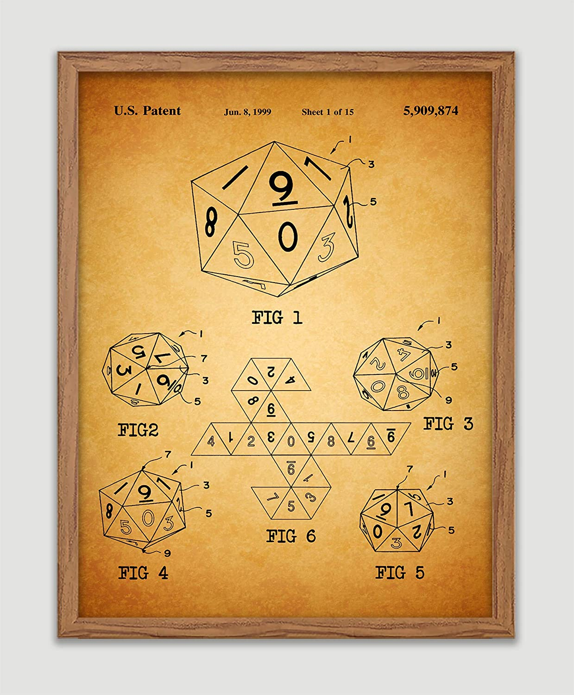 Amazon com: 20-Sided Dice Patent Poster Icosahedron Die Art
