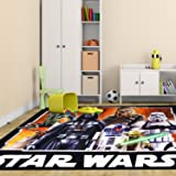 Lucas Star Wars Pattern Area Rug, Featuring Boba Fett Darth Vader R2-D2 Chewbacca Storm Trooper Yoda, Rectangle Indoor Hallway Doorway Living Area Bedroom Carpet, Modern Style, Black, Size 4'6 x 6'6