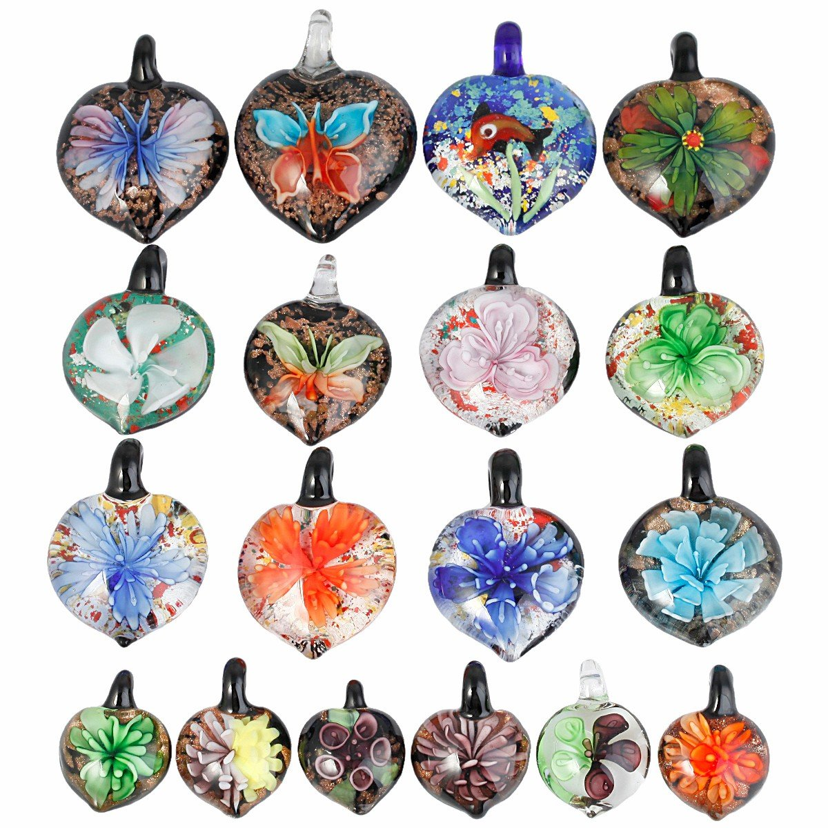 TUMBEELLUWA Glass Necklace Lampwork Glass Heart Pendant Assorted Random Color