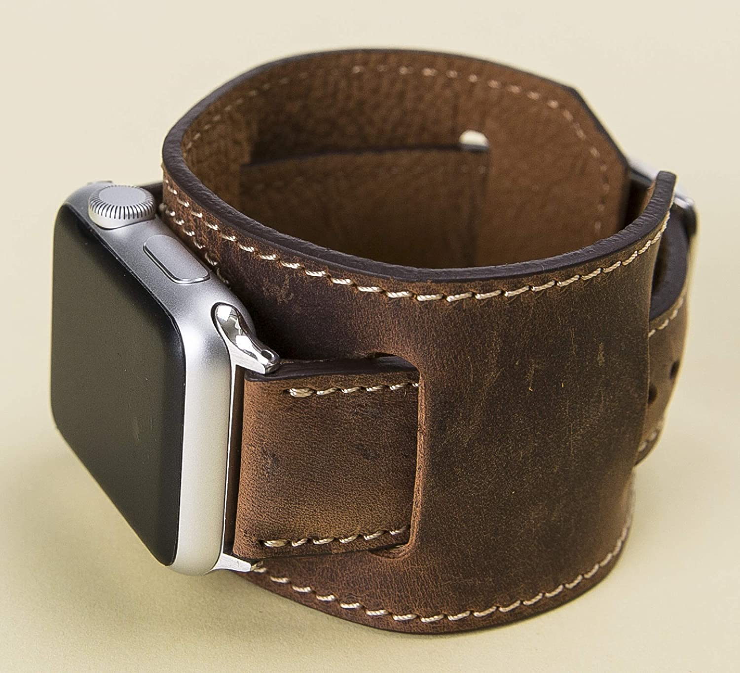 Cuff Apple Watch Band for Series 6-5-4-3-2-1 44mm, 42mm, 40mm, 38mm, Brown iWatch Band, Man or Women, Genuine Leather Strap, High Quality, Engraving Avaliable, HANDMADE, EXPRESS SHIPPING