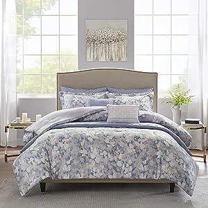 "Madison Park Comforter Quilt Combo Set-Modern Luxury Design All Season Down Alternative Bedding, Matching Shams, Decorative Pillows, Full/Queen(90""x90""), Erica, Floral Blue"