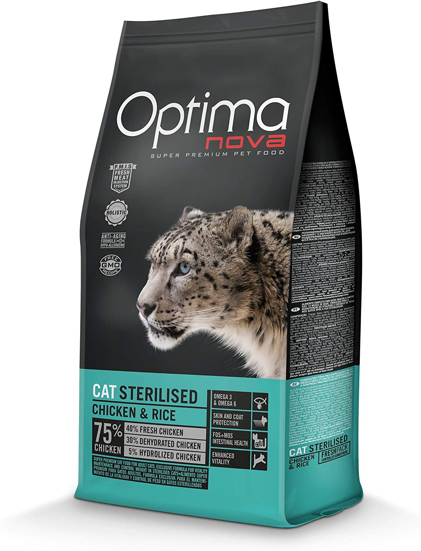 Optima Nova Comida para gatos esterilizados, Pollo y arroz, 2Kg