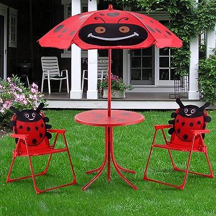 Genial Mandorra Kids Patio Set Table And 2 Folding Chairs W/Umbrella Beetle  Outdoor Garden Yard