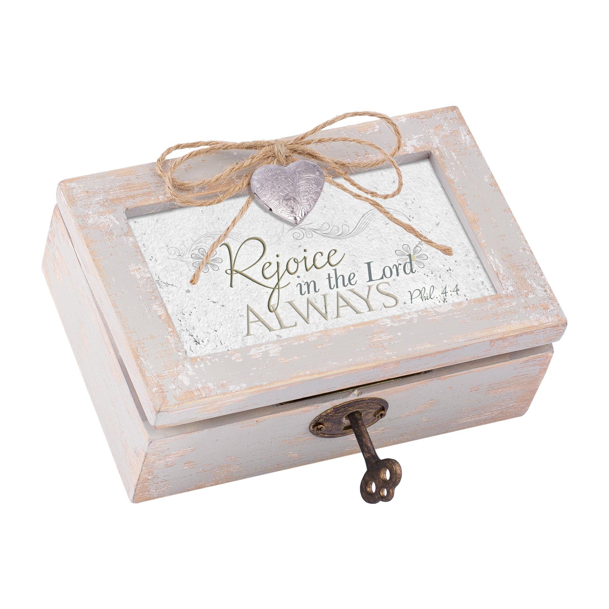 Cottage Garden Rejoice Lord Always Distressed Wood Locket Jewelry Music Box Plays Tune We Have a Friend in Jesus
