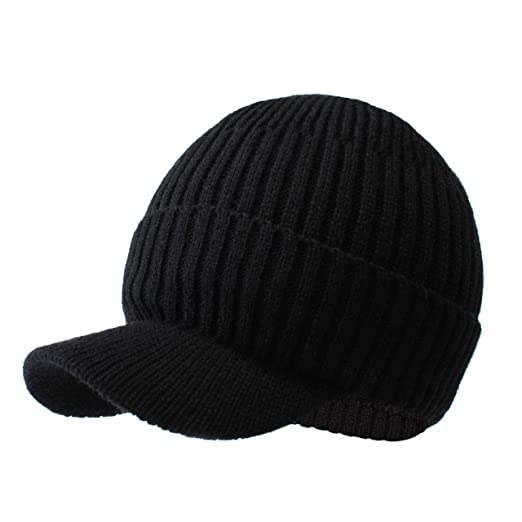 babbb35e519fb9 LANGZHEN Winter Hats for Men with Visor, Warm Men's Outdoor Newsboy Hat - Thick Soft