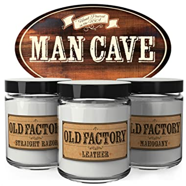 Old Factory Scented Candles for Men - Man Cave -Decorative Aromatherapy - Handmade in The USA with Only The Best Fragrance Oils - 3 x 4-Ounce Soy Candles
