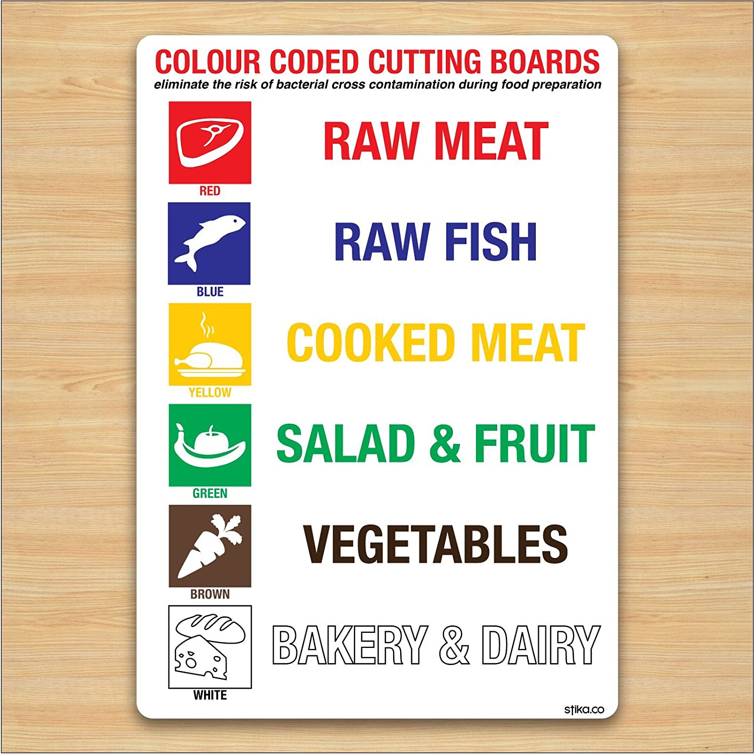 Colour Coded Chopping Boards Sign A5 148x210mm Kitchen Safety Self ...