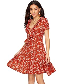 92ee5ce6d8 SheIn Women's High Waist Fit and Flare V Neck Boho Floral Wrap Front Knot  Dress