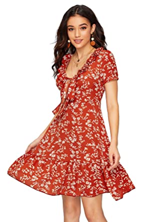 8060e653db SheIn Women's High Waist Fit and Flare V Neck Boho Floral Wrap Front Knot  Dress X