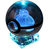 Pokemon Crystal Poke Ball Night Light with Crystal Base and Soft Cleaning Cloth (Snorlax)
