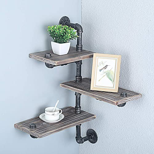 Womio 3-Tiers Industrial Pipe Wall Mount Bookshelf, Metal Wood Corner Shelves,Rustic Floating Shelves,Home Decor Shelf
