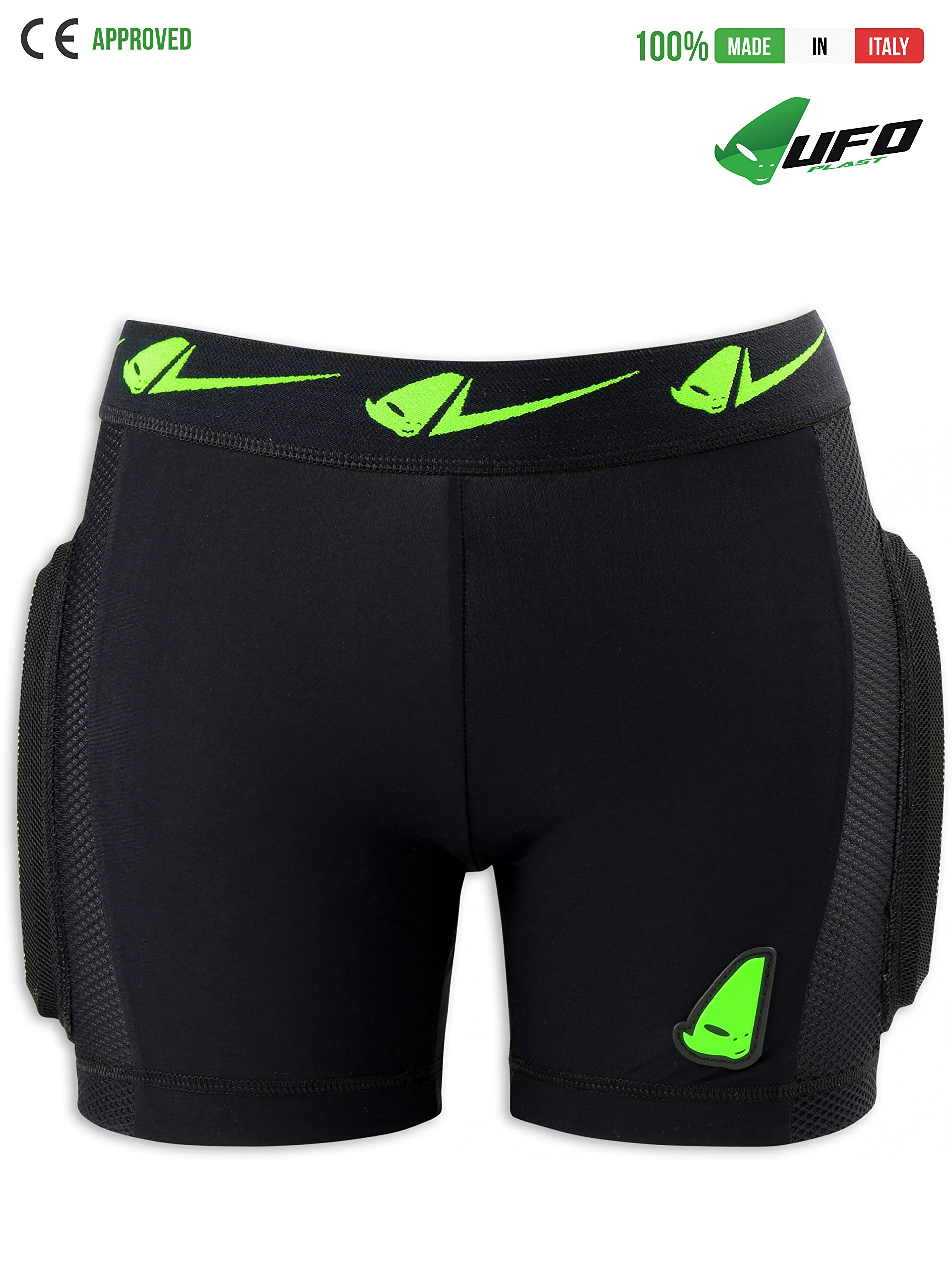UFO PLAST Made in Italy PI02355 KOMBAT Padded Shorts for Kids / Hip, Side, Removable Back Multilayer Protection / Light-Breathable Fabric, Perforated Microshock Material / Size: M / Color: Green