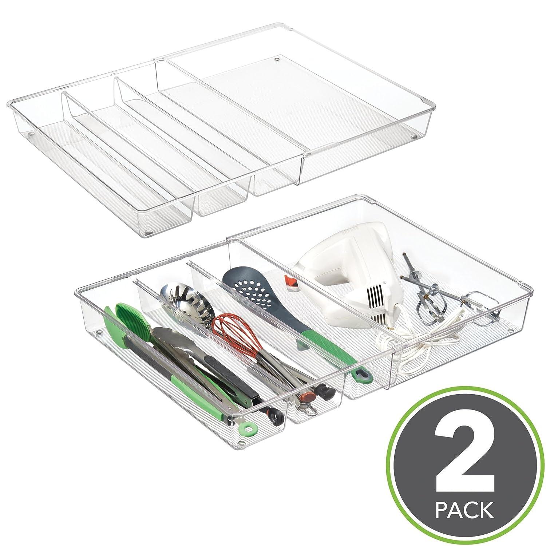 mDesign 2er-Set Schubladeneinsatz – ausziehbarer Besteckeinsatz für ...