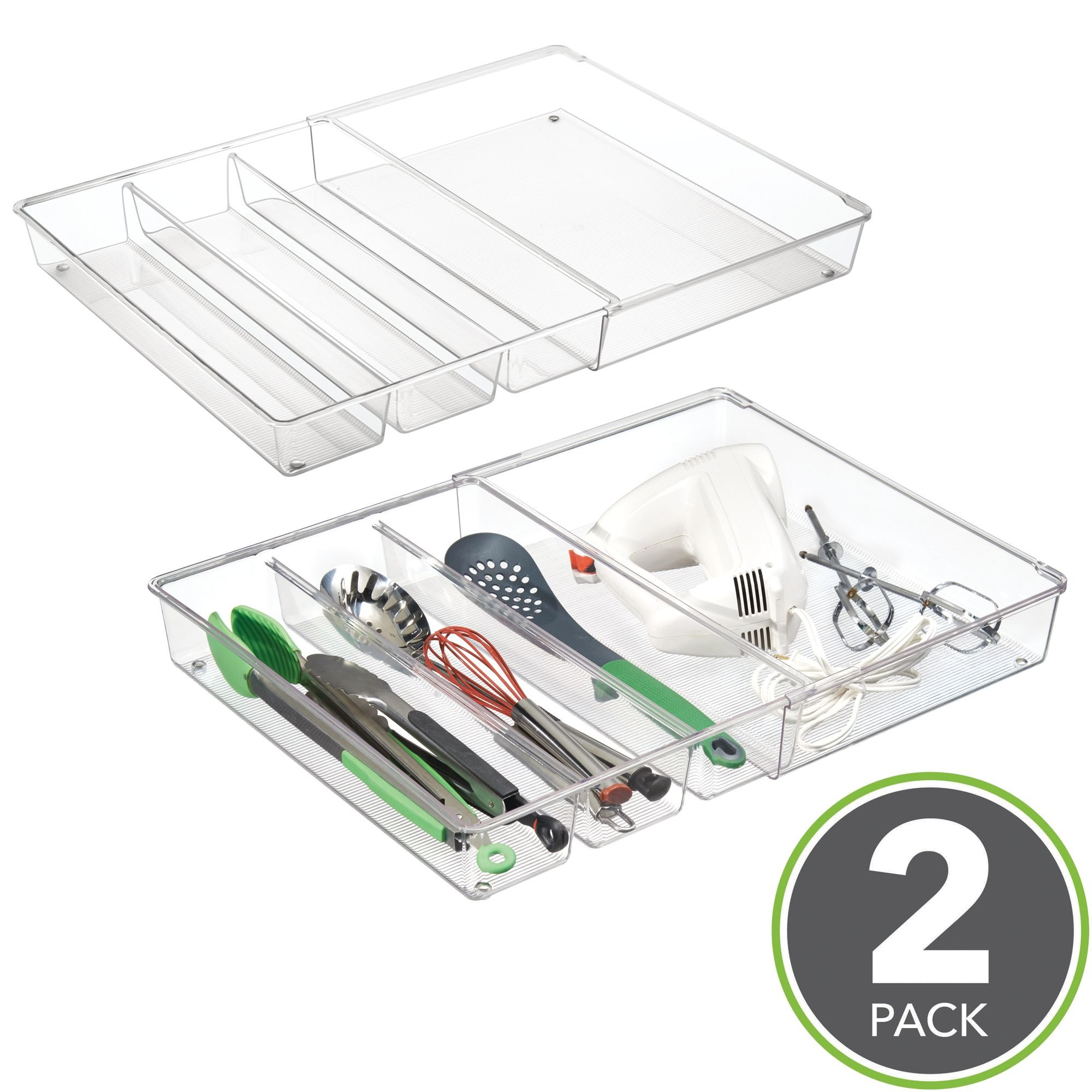 mDesign Adjustable, Expandable 4 Compartment Kitchen Cabinet Drawer Organizer Tray - Divided Sections for Cutlery, Serving, Cooking Utensils, Gadgets - BPA Free, Food Safe, 3'' Deep, Pack of 2, Clear
