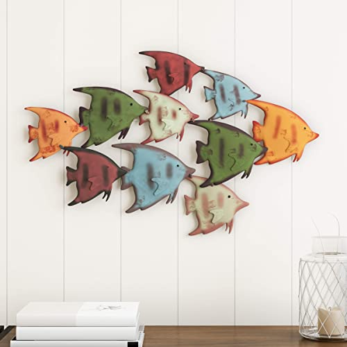 Lavish Home School of Fish Wall Art-Nautical 3D Metal Hanging Decor Vintage Coastal Seaside Inspired Style-Under Water Sea Life Ocean Home Artwork