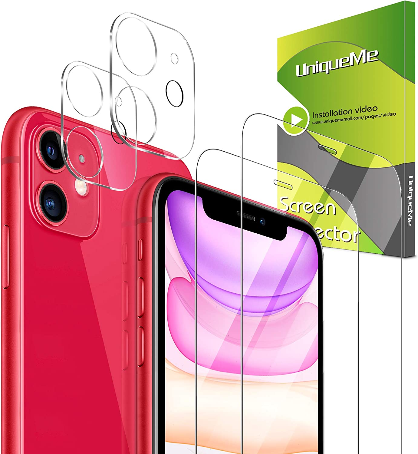 [4 Pack] UniqueMe 2 Pack Camera Lens Protector for iPhone 11 + 2 Pack Screen Protector for iPhone 11 [6.1 inch] Tempered Glass [NewVersion]AddCamerasFlashCircle